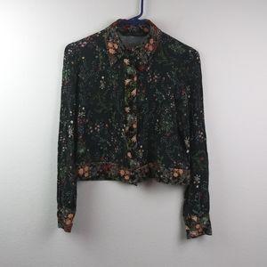 Zara Woman Floral Snap Button Slightly Crop Top